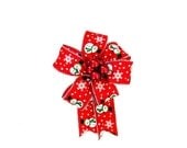 Snowman gift bow, Small bow for Christmas tree, Red Christmas berry gift bow, Gift bow for baskets and bags, Christmas in July bow (C467)