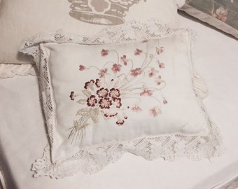 Rare antique small french embroidered floral flower pillow lace ruffle butterfly shabby french nordic chic
