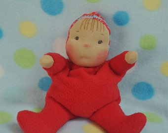 """SALE! Fretta's original Waldorf Style Weighted Baby. 9"""" / 23 cm soft sculpture Cloth Doll. Baby's First Doll. Child Friendly Baby Doll."""