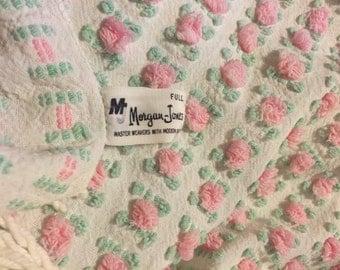 Vintage Morgan Jones Rosebud Chenille Bedspread FQ