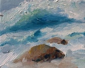 "Original acrylic impressionist seascape painting ""Revidalized"", 6"" x 6"" x 1 3/8""  acrylic on canvas. Ocean Home decor art."