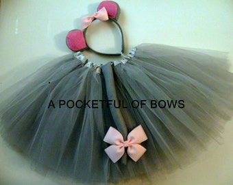 Gray Mouse Tutu Costume, Toddler Halloween Costume, Mouse Ears and Tail
