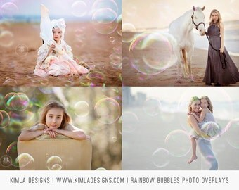 Rainbow Bubbles Photo Overlays