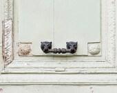 Paris mint green door photos, Paris travel photos, Architecture wall art, Rustics, Pastel green, Art deco, door knocker art, gift under 50