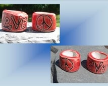 2 Large Hole Dreadlock Beads, Love Peace Dread Beads, Red Hair Accessories, Love Beads,  Macrame Beads, Ceramic Pottery, Clay Focus Beads