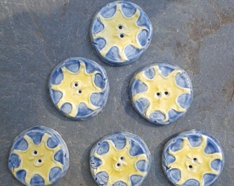 6 Ceramic Buttons Sun Pottery Blue Yellow Solar Stone Sewing Knitting Notions Supplies