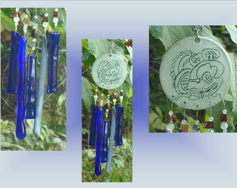 Blue Glass Windchime, Mayan Ceramic Wind Chime, Stained Glass Art, Garden Decor, Window Suncatcher, Pottery Mobile