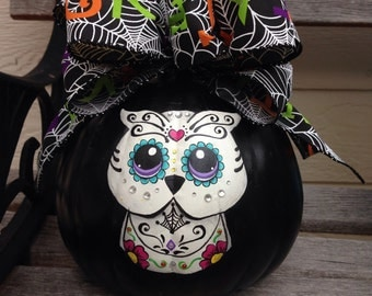 Hand painted Day of the Dead Sugar Skull Owl Pumpkin
