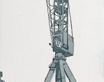 Original Etching - Industrial Print - Crane Etching - Original Print by William White - Industrial Print of Belfast Cranes - FREE SHIPPING