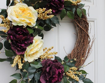 Purple Peony, Yellow Open Rose Grapevine Wreath Mother's Day Gift