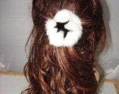 HP-9 White Black Rabbit Fur Flower Hairpiece Decoration Pin Clip Barrette
