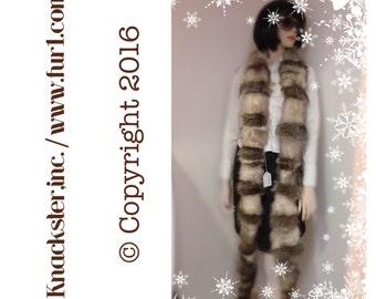"SF-30 Beige Opossum Brown Raccoon Fur Scarf Wrap Boa 113"" with Raccoon Tails"