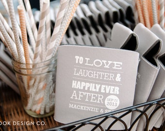 To Love Laughter & Happily Ever After Wedding can coolers, love laugh wedding favors, love laughter can coolies (125 qty)