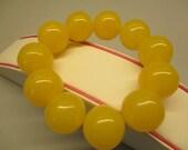 Amber Bracelet Huge Elegant 54.50 Gr Honey Yellow Color Round 20.0 mm #155
