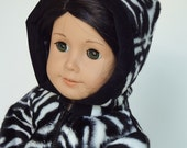 18 Inch Doll Clothes -- Zebra Hooded Parka -- 1 Piece (5-42)