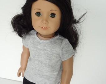 18 Inch Doll Clothes -- Grey T-Shirt -- 1 Piece (5-51)