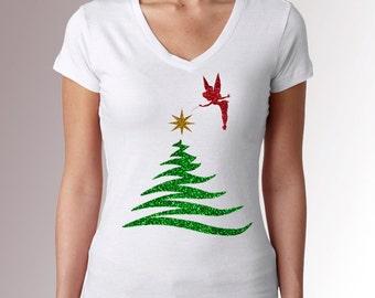 Tinkerbell Christmas/Holiday Tree * Glitter * White * Fitted V Neck Cap Sleeve Shirt * Disneyland/Disney World