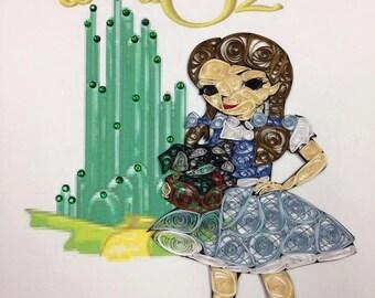 Paper Quilling:  Framed Dorothy, Wizard of Oz Art, Art, 8x10