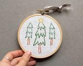 Christmas Tree Decor, Christmas ornament, Holiday Embroidery, Christmas Embroidery, Embroidery hoop art, handmade, woodland rustic fiber art