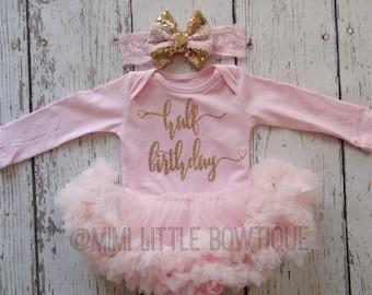 Half Birthday pink tutu dress- pink tutu dress Gold Glitter- tutu - pink tutu bodysuit- 1/2 birthday outfit- gold and pink birthday