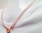Rose gold ladies viking knit front close necklace