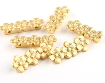 Three Hole Floral Strand Separator, Gold Plated, 6 pieces // GF-093