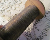 Antique French Early Century Dark Gold Real Metal Thread - 8 yards total spool included (#15)