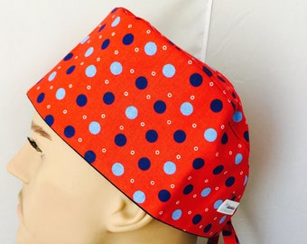 Surgical Scrub Cap - Sky Blue and Navy Blue Polka Dots on Red Scrub Hat
