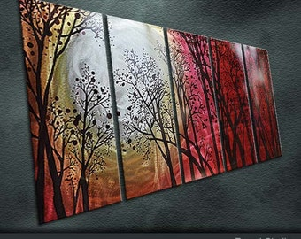 """Original Metal Art Modern Abstract Painting Sculpture Indoor Outdoor Decor """"The sun in the jungle"""" by Ning"""