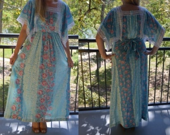 Blue Dress, Ladies' Day Dress, Sears Jr Bazaar Dress, Flowered Vintage Dress, Floral Dress, 1960's does 1910's, Long Dress, Size 13, BOHO