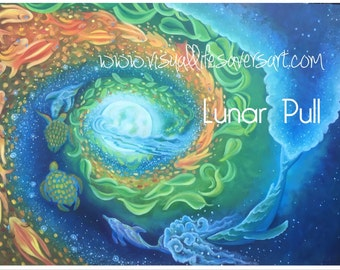 Lunar Pull - ocean and moon painting, whale, dolphin, turtle