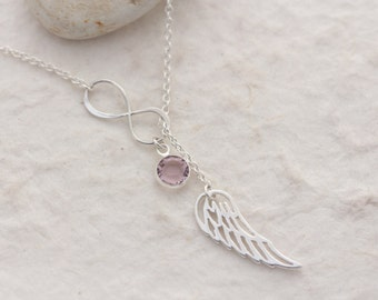 Angel Wing necklace,  Choose custom charm. Infinity Necklace, Wing Necklace, Protection, Sterling silver Wing & infinity, memory wing