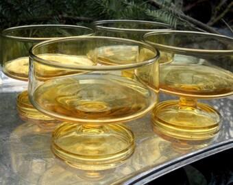 Mid Century Coupe Glasses, Manhattan Glasses, Amber Color, Wonderful Shape