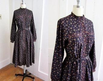 70s Hipster Dress - Eggplant Purple - Lanz Original - Cotton Calico -  Prairie Dress - Day Dress - Long Sleeve - Quilted Cuffs - Hippie -