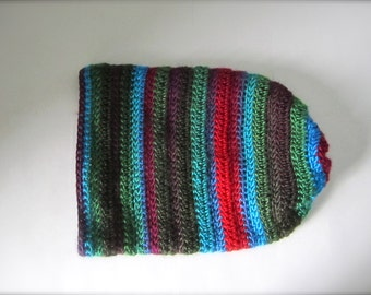 Crochet Turquoise Teal Forest Green Red Maroon Burgundy Plum Blue Rainbow Earth Tone Multicolored Striped Slouchy Hat, Beanie Hat, Adult Hat