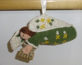 Vintage Christmas Ornament - Crocheted Angel with Songbook, Handmade from Crochet Cotton, Christmas Decor, Christmas Tree Ornament