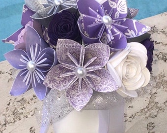 SWEET LOVE- 5 Paper Flower Bouquets / Bridal Bouquet, Kusudama, Origami Bouquet, Wedding, Bridesmaid Bouquet, Paper Flowers