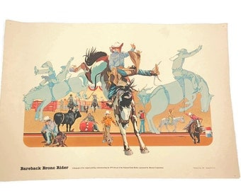 Rodeo Lithograph - Rodeo Print - Bareback Bronc Rider - NFR Lithograph - 1979 National Finals Rodeo - Hesston Corp - Free Shipping - 4HTT16