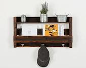 Reclaimed wood entry shelf