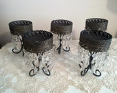 Rustic Glam Candle Holders-Set of 5, Metal and Crystal