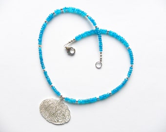 Silver coral necklace - aqua gemstone necklace with sterling silver pendant - apatite necklace, beach jewelry