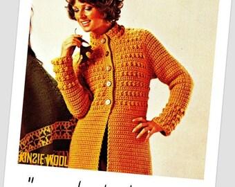 Vintage 70's Crochet Coat - PDF Pattern - INSTANT DOWNLOAD