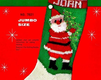 "Vintage 50's Christmas Knit ""STOCKING"" - PDF Pattern"