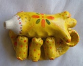 Momma pig w/ piglets whistle - OOAK, primitive, handmade, vintage Russian folk art - Dymkovo - Dyimkovsky - clay