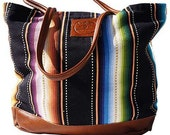 Rio Grande Large Tote - Handmade Bohemian Fabric and Leather -Environmentally Conscious
