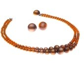 Vintage Brown Moonglow Lucite Double Strand Necklace and Earrings 1940s Fall