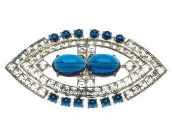 Art Deco Brooch Sapphire Blue Sugarloaf Cabochon Art Deco Jewelry Vintage 1930s Wedding Jewelry