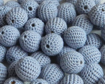 """Crochet beads 5 PCS 18 mm 45/64"""" Silver grey  Wooden crochet cotton beads Crocheted bead Round beads Necklaces"""