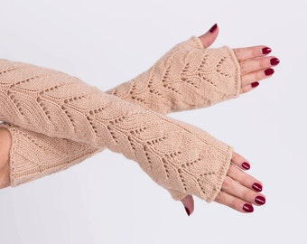 Long lace Fingerless Light brown Lace Fingerless mittens Arm Warmer Gloves Long Fingerless Extra Long fingerless Lace