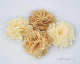 Small Burlap Flowers - QUALITY DISCOUNT - DIY Crafting Supplies - You choose the colors and quantity - Applique Flowers - Wedding Decor